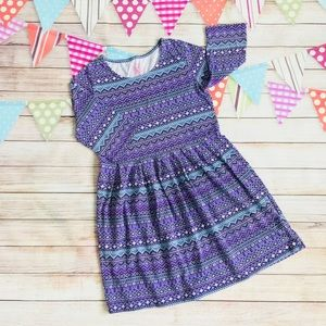 💥5 for $18💥Girl Purple Blue Pattern Dress