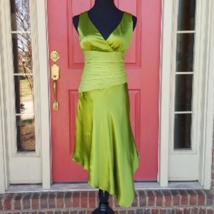 Vintage Donna Ricco New York Green Silk Dress