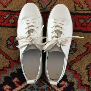Zara White Leather Oxford with Gum Sole