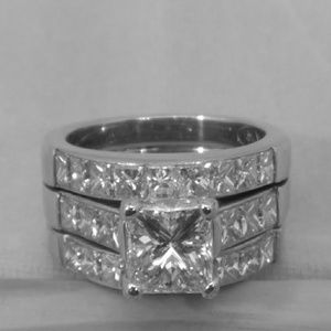 14kt Two Tone Diamond Wedding Set Princess Cut
