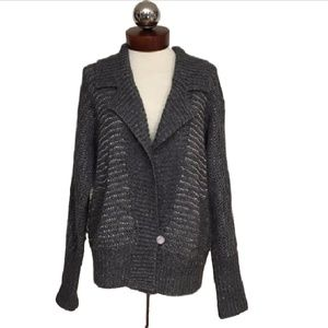 REBECCA TAYLOR oversized metallic grandpa cardigan