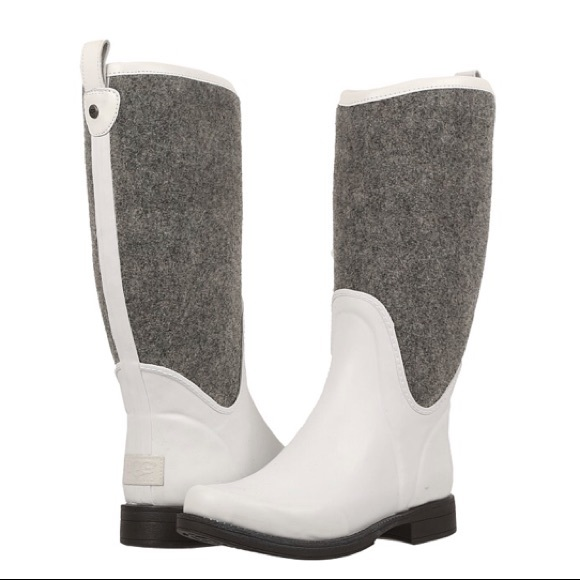 bcecb29958a • Ugg • ReignFall Rain Boots Wool White Gray 7 New NWT