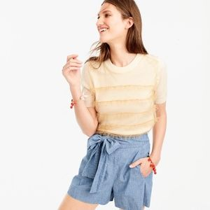 J CREW Tippi short-sleeve sweater with tulle xxs