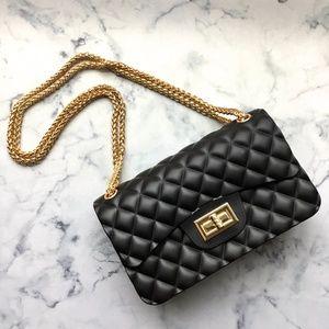 Handbags - Black Quilted Rubber Chain Crossbody Shoulder Bag