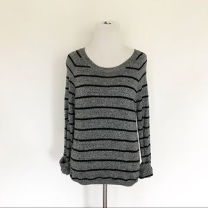 Gray & Black Striped Sweater