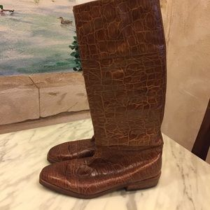 Lovely Bally boots in cognac alligator print