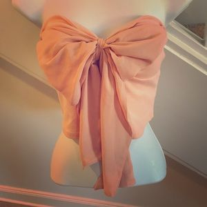 Adorable Peach Bow Front Crop Top