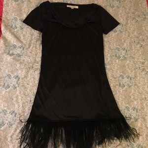 7fba8204878 Steve Madden Dresses - Steve Madden Short Sleeve Black Feather Slip Dress