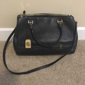 Ralph Lauren satchel handbag in black leather