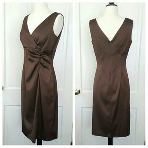 Donna Ricco brown satin cocktail dress.