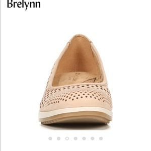 Ginger snap perforated leather wedges