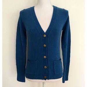 EUC Zara Blue Gold Buttons Knit Cardigan