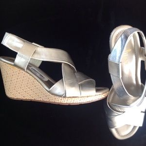 Cole Haan New Gold Leather Wedge Sandal Size 8.5