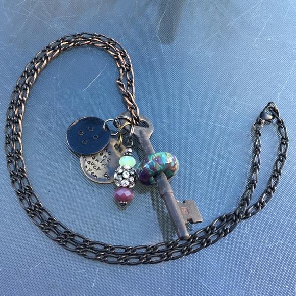 Jewelry Coraline Inspired Skeleton Key Necklace Glass Bead Poshmark