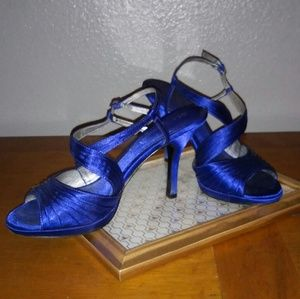 Royal blue strappy formal heels