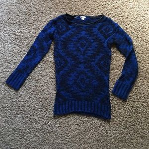 Royal blue & black sweater with faux leather trim