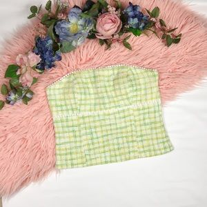 Lilly Pulitzer Green Tweed Tube Top