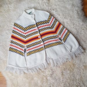 Vintage Poncho Sweater with Fringe