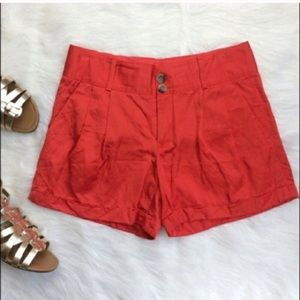 Club Monaco Orange Pleated Shorts