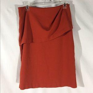 CAbi Draped Front Burnt Orange Pencil Skirt