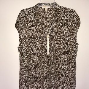 Michael Kors Animal Print Zipper Detail Top NWOT