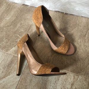 Cork rose gold heels
