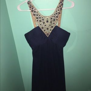 Navy sequined prom/cocktail dress