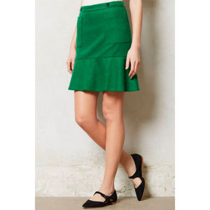 Anthropologie Maeve Green Kicky Wool Skirt // 4