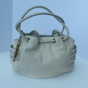Colo Haan Cream Leather Braided Strap Hobo Bag