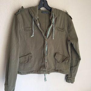 Brandy Melville hoody zip button crop army jacket