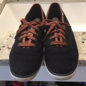 Navy and brown keds