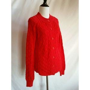 Anne Klein Size M Red Cardigan Sweater