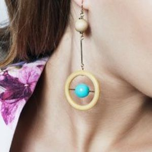 Jewelmint SOHO MOD Wood Turquoise Dangle Earrings
