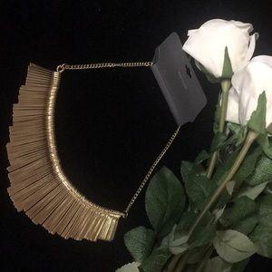 Express gold matchstick short necklace