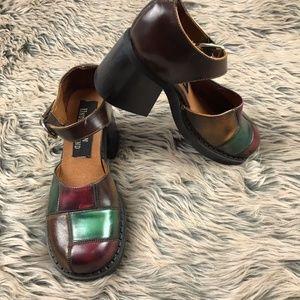Vintage London Underground Patchwork Chunky Heels