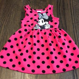 Disney Minnie Mouse Pink and Black Dot Dress