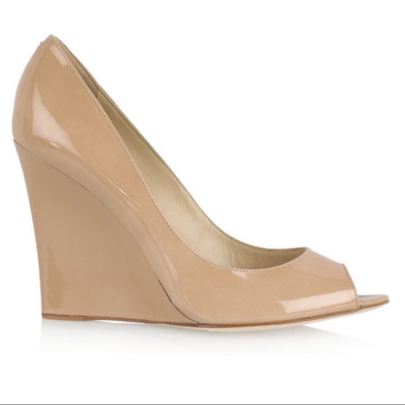 Jimmy Choo Nude Patent Leather Wedge