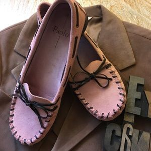Paolo Pink Suede Moc Loafer w/ Brown Leather Tie