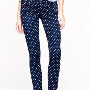 J Crew Polka Dot Toothpick Ankle Jeans Pants 28