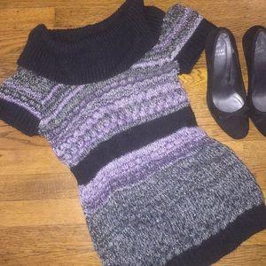 Short Sleeve Long  Cowl Neck Purple&Grey Sweater