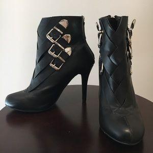 Black Bootie Heels with Buckles