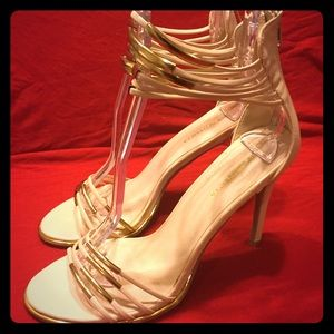 Shoe Republic LA Cream and Gold strapped heels 8.5