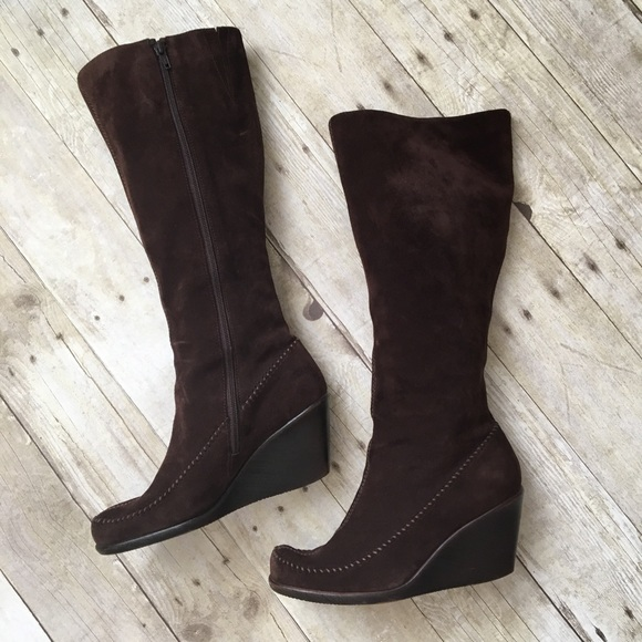 5b5a785a508 AEROSOLES Shoes - Aerosoles Brown Suede Tall Wedge Boots