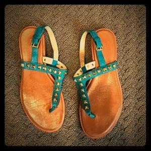 MK teal thong sandals