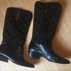 Van Eli Black Suede studded cowboy boots