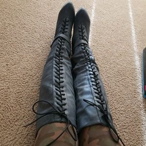 Shoes - Over-the-knee lace-up boot