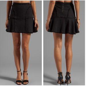 •Rebecca Taylor• Tweed Flounce Skirt in Black