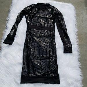 Dresses & Skirts - Black Midi Mesh Sequence Bodycon Dress !