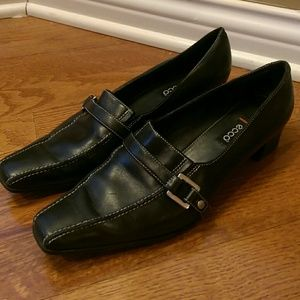 Ecco Black Low Heel With Silver Buckle Detail