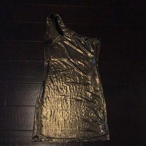 Skin Tight  One Shoulder Gold Dress
